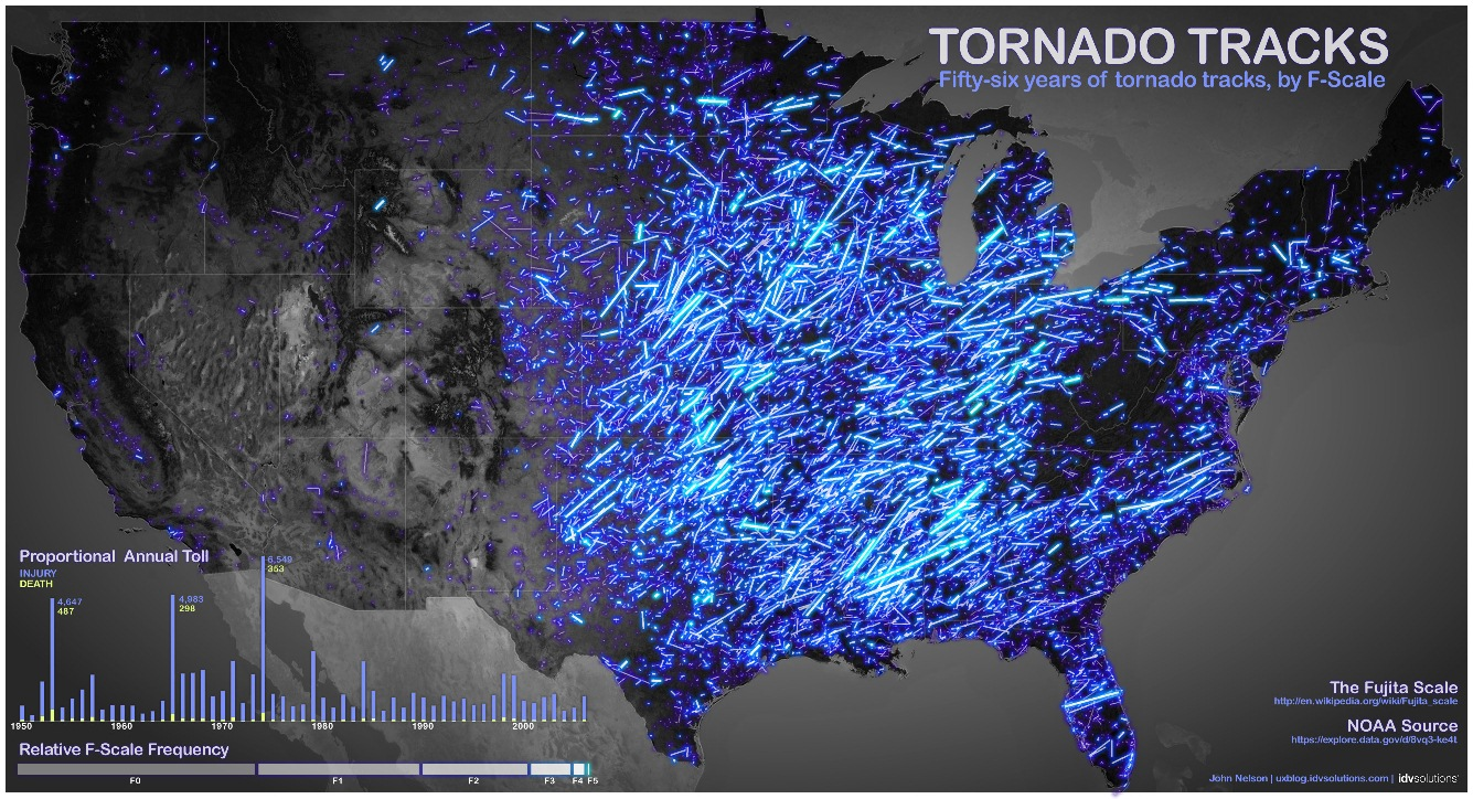 Stunning maps of natural disasters click on the image for the full size map credit for the above map goes to idvsolutions this map shows a plot of tornadoes in america since 1950 gumiabroncs Images